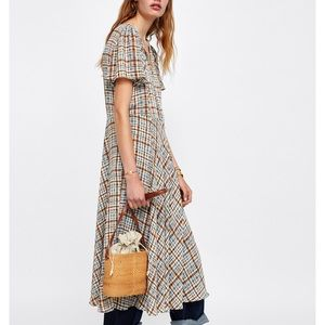 Zara Long Plaid Dress